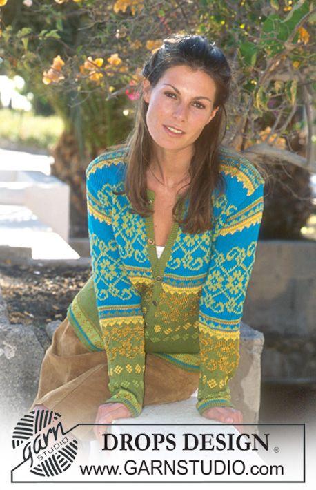 Mønstret nordisk DROPS jakke i Safran og Cotton Viscose Gratis oppskrifter fra DROPS Design.