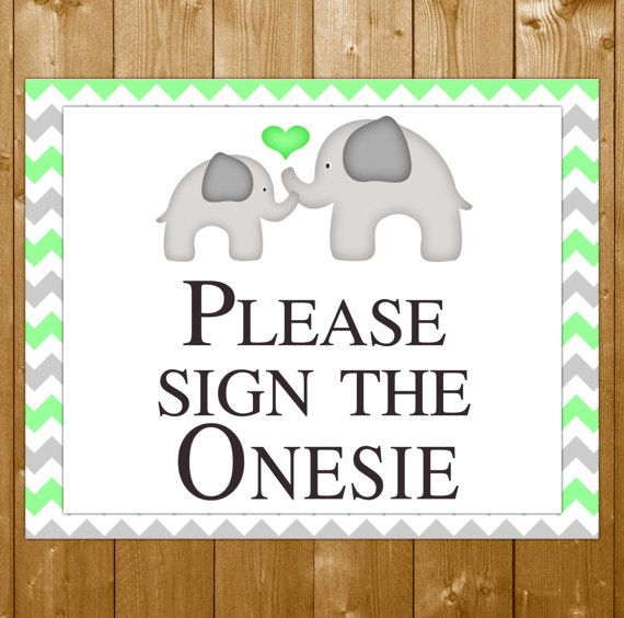 """Elephant Baby Shower """"Sign the Onesie"""" Sign, Shower Printables, Baby Shower """"Please Sign the Onesie"""", Mint Elephant Shower, Instant Download"""