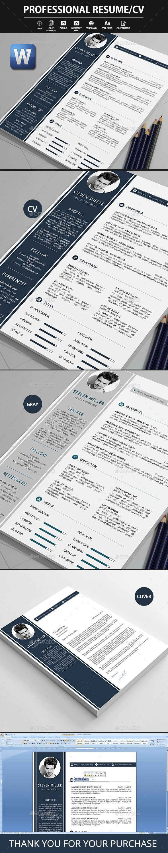 Professional resume template PSD. Download here