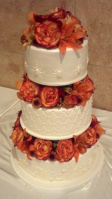 Gorgeous Three Tier with Orange Flowers