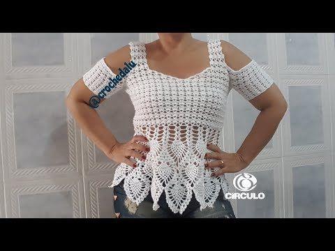 Blusa em crochê com ponto abacaxi - Parte 1 - YouTube