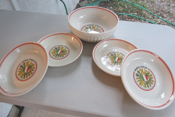 Vintage Himark Italian Pasta Bowl Set 1 by SarasotaVintageWorld, $60.00 Awesome Set of Italian Pasta Bowls Please Repinit Thanks and have a Great Evening