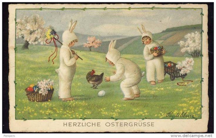 Pauli Ebner signed Easter Easter kids children Rokl 2462. old postcard - Delcampe.net