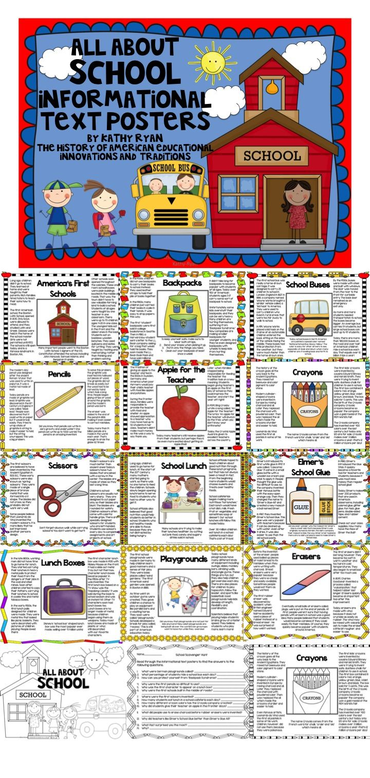 $ Have you ever wondered where the tradition of giving an apple to the teacher began? Are you interested in knowing how pencils were invented? Do you remember your first character lunch box? Well, you and your students will love reading about the history and traditions of American schools. These 12 engaging, informational text posters will give your students the answers to these questions and more.