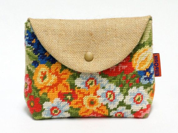 Vintage Needlepoint snap pouch