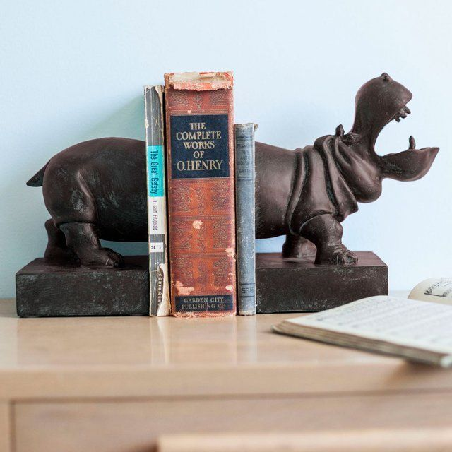 Hippopotamus Bookends - $52 -- make your own with a weighted, painted plastic toy animal?