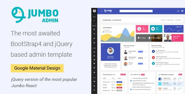 Jumbo React - BootStrap 4 and jQuery based Admin Template by g-axon