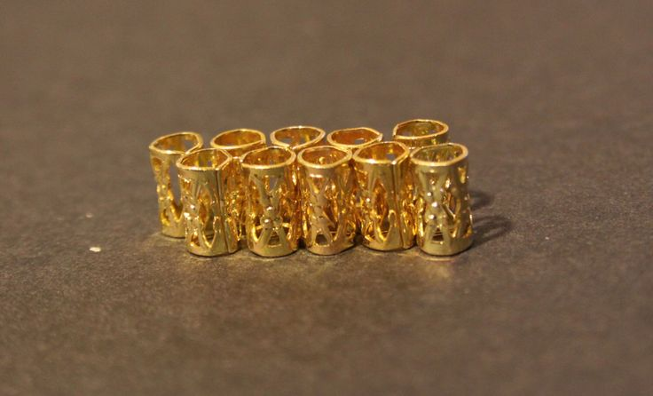 10 mini Gold DREADLOCK Beads - DREAD Hair Beads 5mm hole & FREE Tibetan Silver Bead by lyndar85 on Etsy https://www.etsy.com/listing/120441537/10-mini-gold-dreadlock-beads-dread-hair