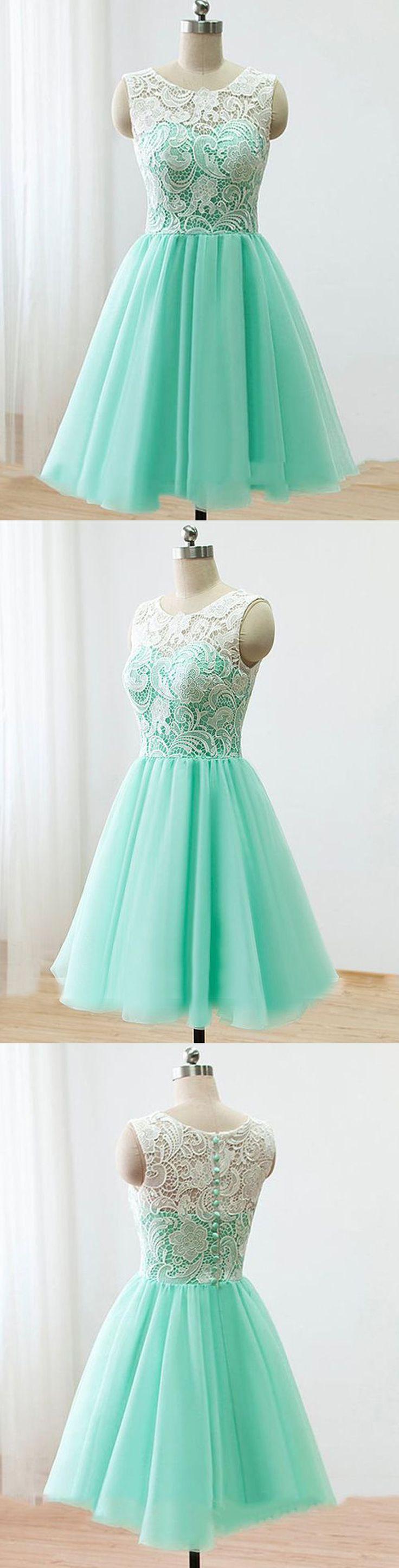 A-Line Homecoming Dresses,Jewel Homecoming Dresses,Short Homecoming Dresses,Mint Green Homecoming Dresses,Chiffon Homecoming Dresses,Lace Homecoming Dresses,Homecoming Dresses 2017