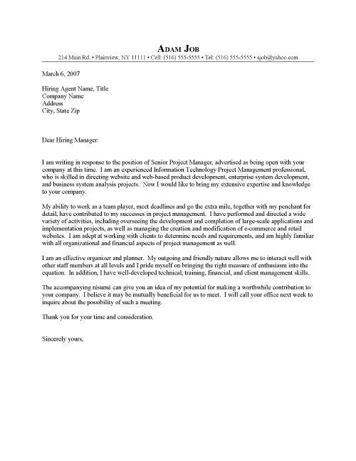 Project Manager Cover Letter Sample
