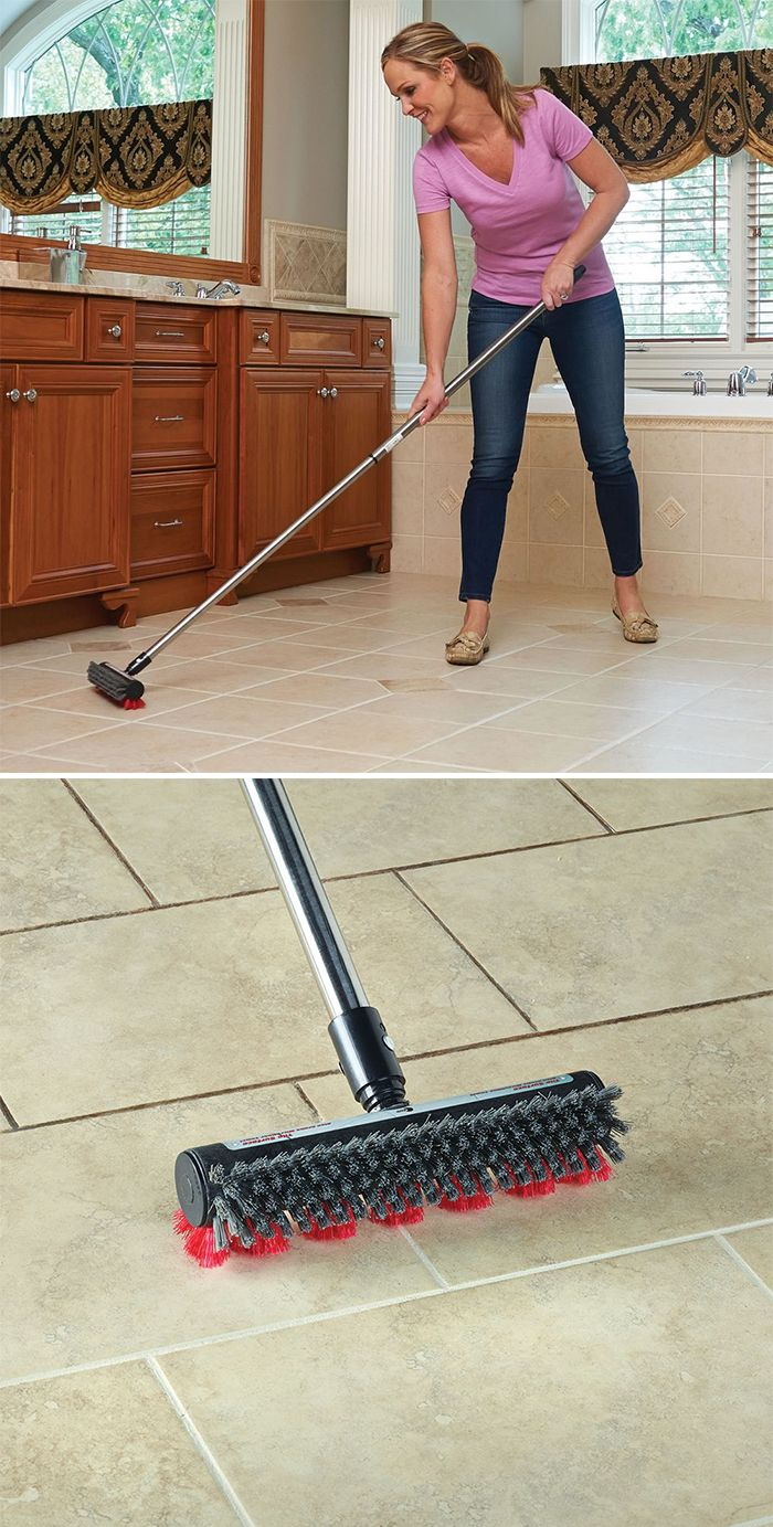 The Superior Grout Scrubber - This is the broom designed to clean floor tile grout lines, eliminating the hassle of scrubbing on your hand and knees. The broom has red nylon bristles in a patented diamond-shaped pattern that allows the bristles to reach deep into grout lines—where traditional bristles can't reach—to remove dirt and grime.