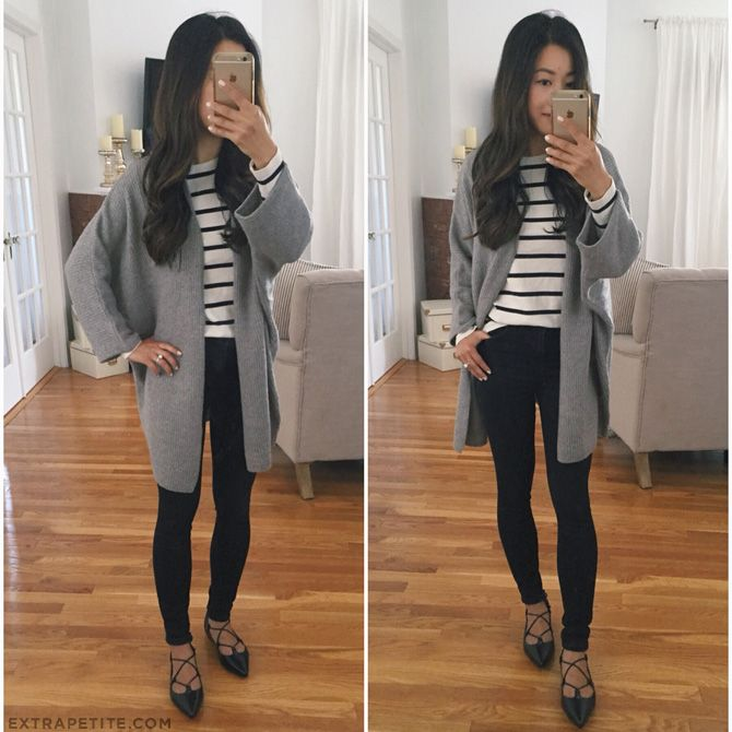 fall casual style // long gray boyfriend cardigan, striped tee, leggings, lace up flats