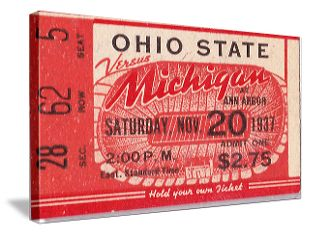 Great Michigan football gifts and Ohio State football gifts. Football gifts made from authentic vintage football tickets in the 47 Straight Collection.™ http://www.shop.47straightposters.com/1937-Michigan-vs-Ohio-State-Football-Ticket-Art-37MICHOSU.htm