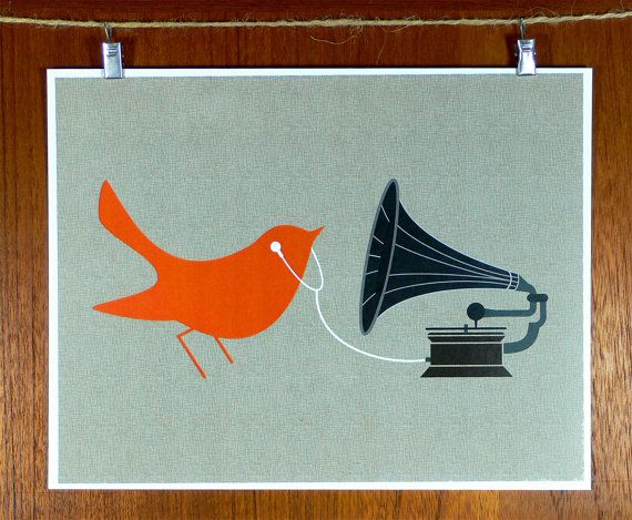 Tangerine Bird with Gramophone and Earbuds - love the gramophone image. Pegging things on string - could be used throughout ...