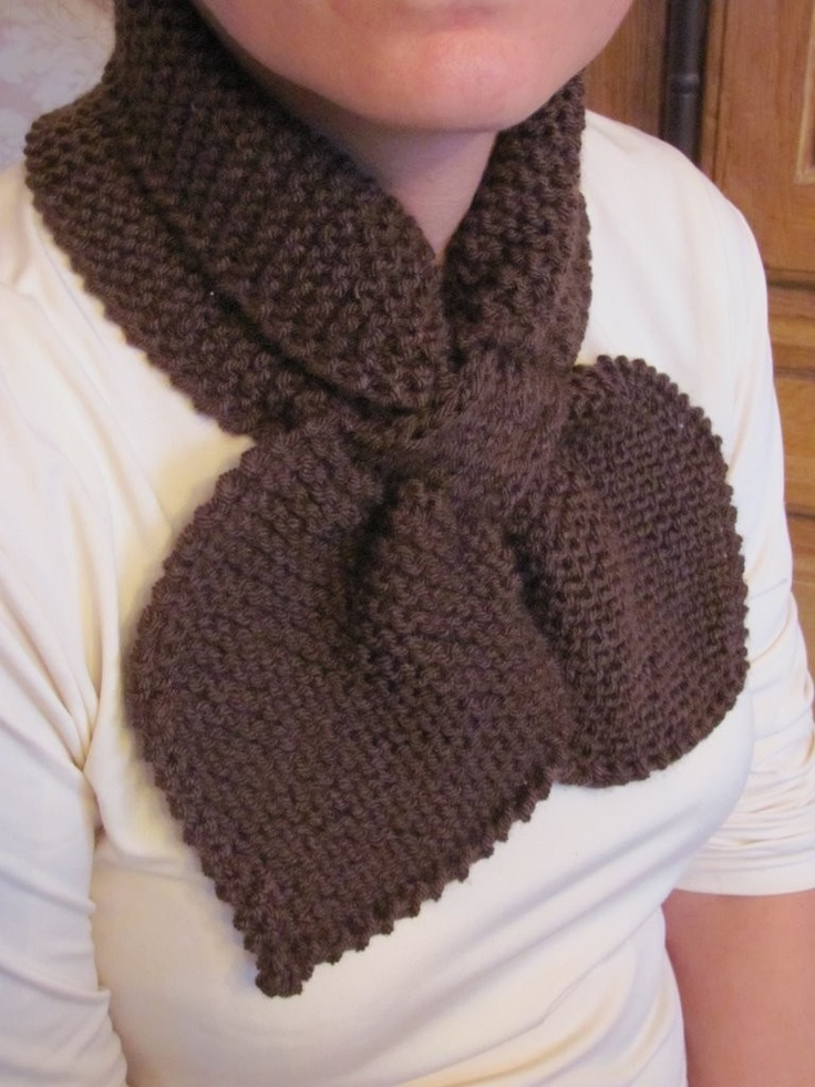 Knit ascot scarf 50s style retro scarflette sophisticated gypsy neck warmer in brown. $26.00, via Etsy.