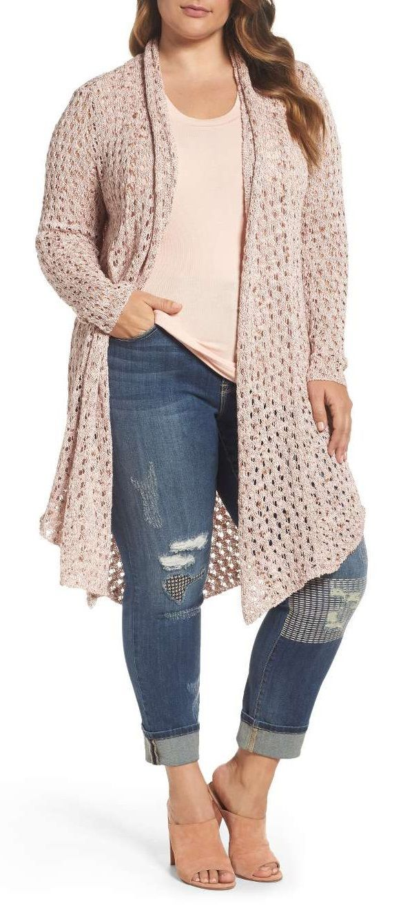 Plus Size Pointelle Knit Open Front Topper (Fall Top Plus Size) – Iki