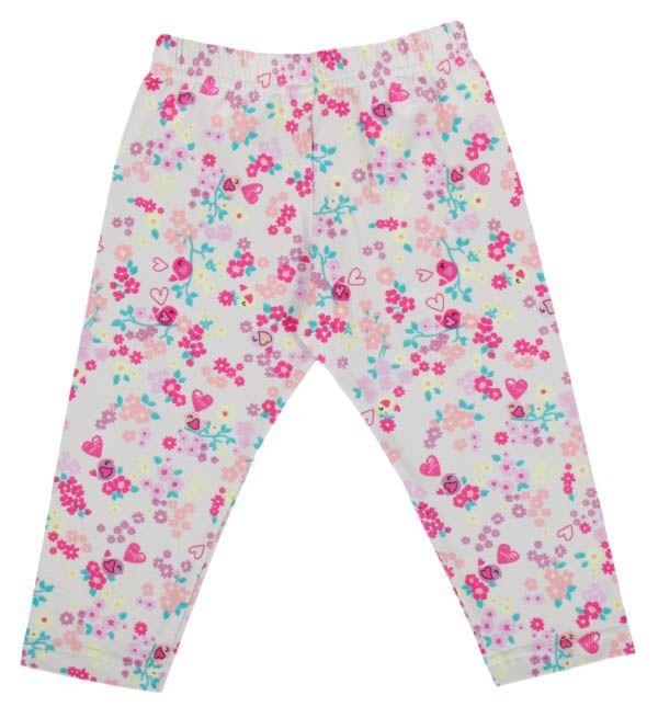 Calça legging infantil estampada com flores.