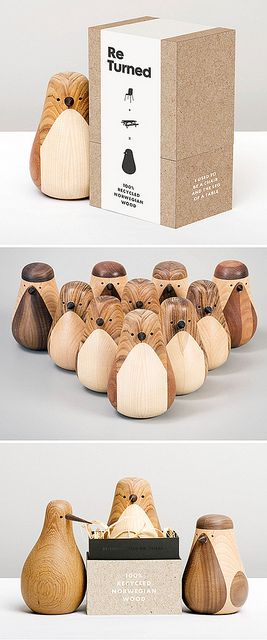 Beller transformed discarded pieces of wood scraps into charming birds in their Re-Turned series.