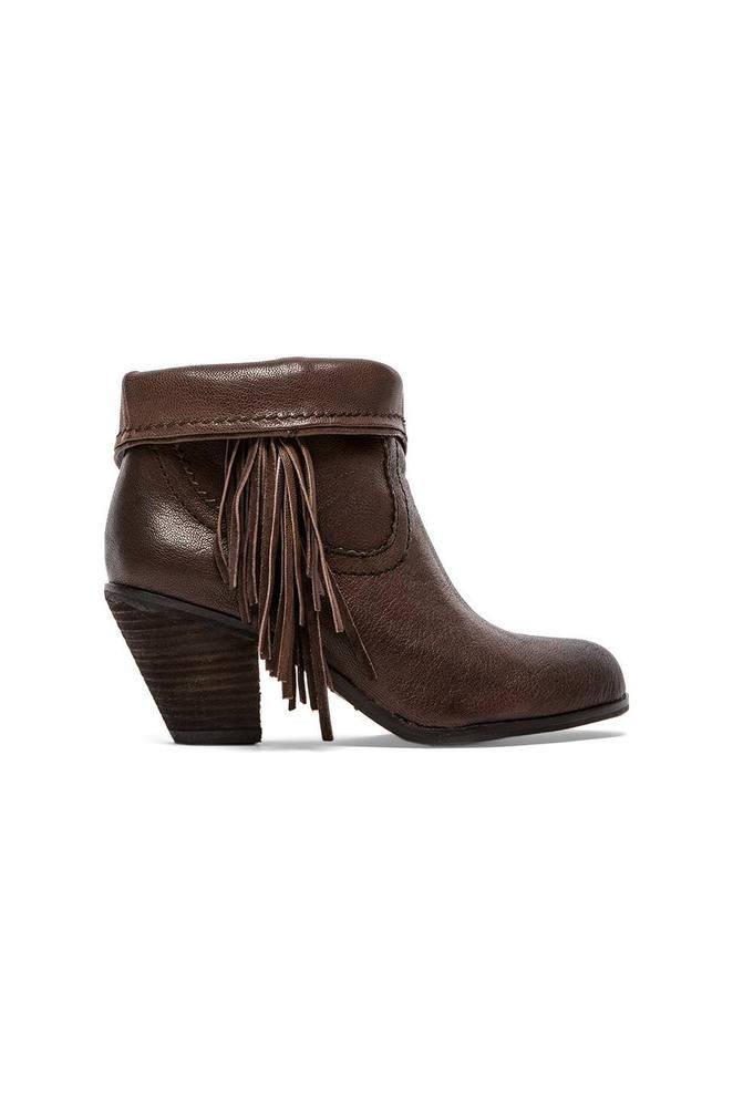 bcc3361384d66b SAM EDELMAN Ankle Booties Louie Fringe Dark Brown Leather Festival Boots 6  New  SamEdelman  AnkleBoots