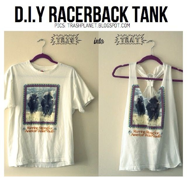 DIY ... turn a boring shirt and make an amazing tank for the summer -> Have to try