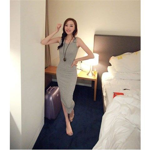 Women's  Long Sleeveless Casual Dress - Gray