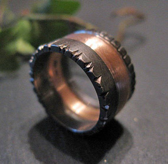 Viking Wedding Ring 12mm Sterling Silver 14k Rose Gold Black Rhodium Medieval Ring Goth Ring Unique Mens Wedding Band Mens Engagement Ring