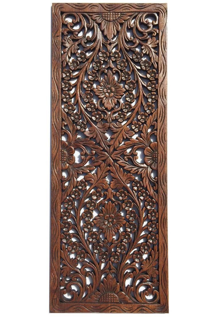 Floral Wood Carved Wall Panel Wall Hanging Asian Home -4884