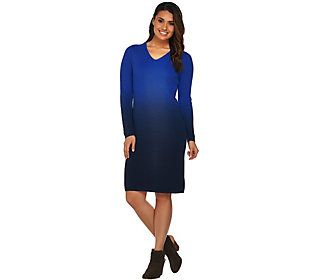 H by Halston Ombre Ribbed Long Sleeve Sweater Dress