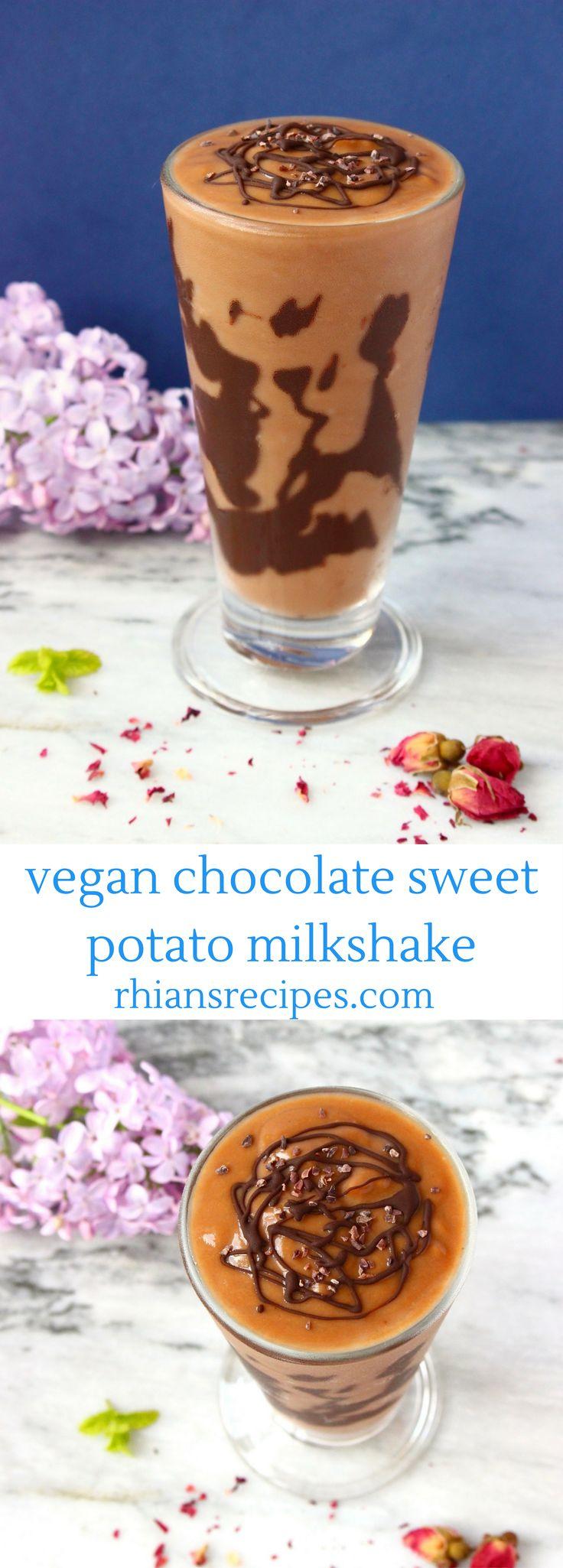 Chocolate Sweet Potato Milkshake - vegan, gluten-free and refined sugar free. 3 ingredients, easy to make, super healthy!