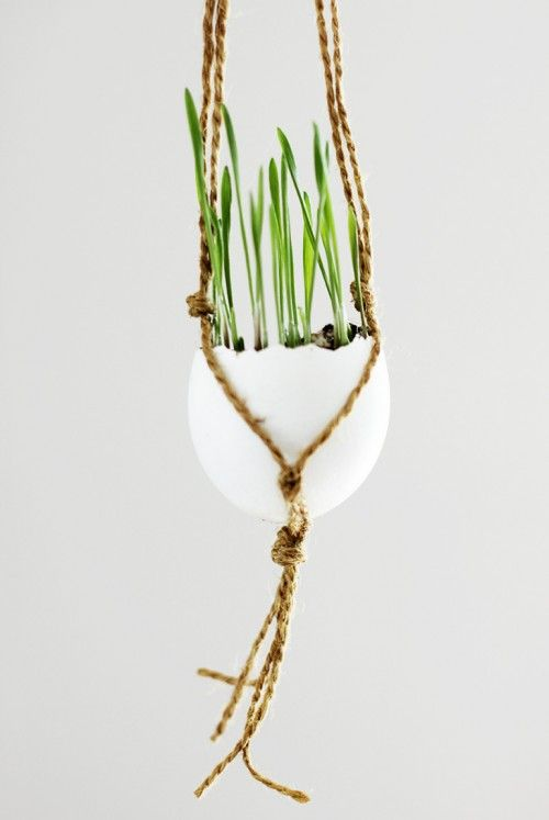 DIY Macrame Wheat Grass Eggs For Easter | Shelterness
