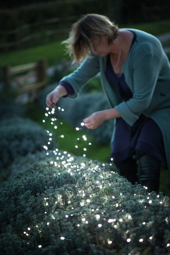 If youre far away from a power source or dont want to fuss about with plugging things in, you can use these solar light strings throughout the evening outside. - Gardening Living