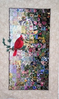 Watercolor quilt with cardinal.Patchwork, Quilt Inspiration, Birds Quilt, Quilt Ideas, Art Quilt, Quilt Gallery, Water Colors, Fiber Art, Watercolors Quilt