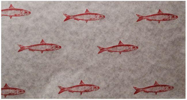 pakpapier, handgestempeld #sardines #fish #food #kitchen
