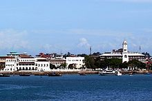 "Zanzibar sultan palace. Mji Mkongwe (Swahili for ""old town"") is the old part of Zanzibar City"