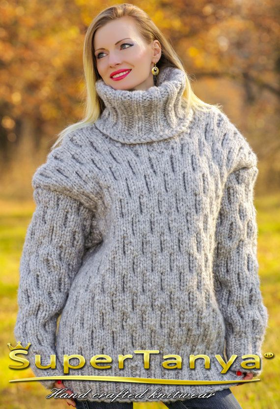 Mega thick and heavy hand knitted mohair wool by supertanya