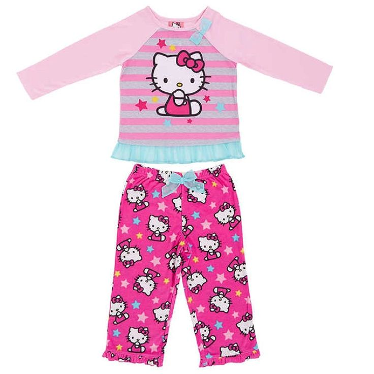 Hello Kitty Girls Size 6X Long Sleeve Top & Fleece Pants Pajama Set, Pink