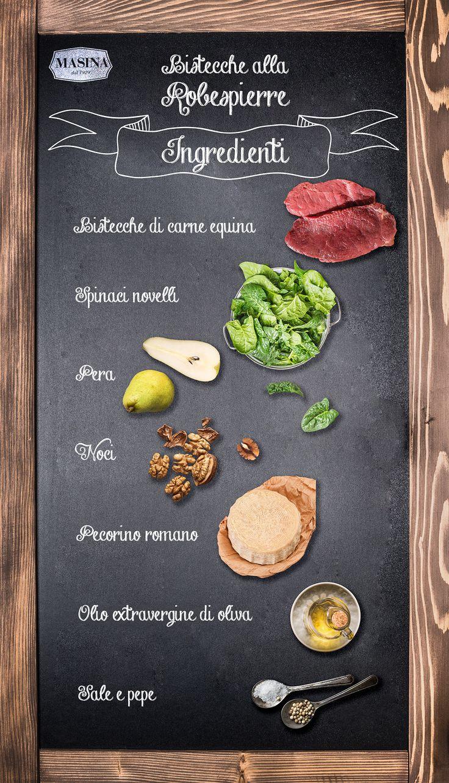 #ricetta Bistecche alla Robespierre con spinaci, noci, pere e pecorino