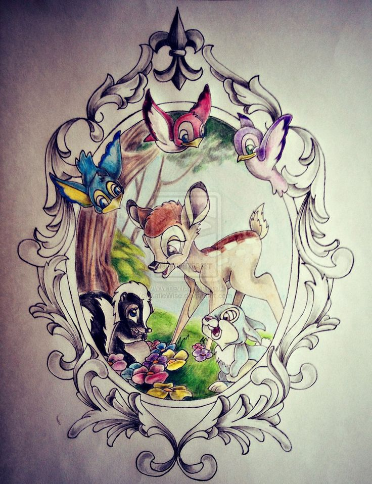 Frame, birds, flowers for my bambi, thumper tattoo part of me loves this for Oakleys tattoo ?