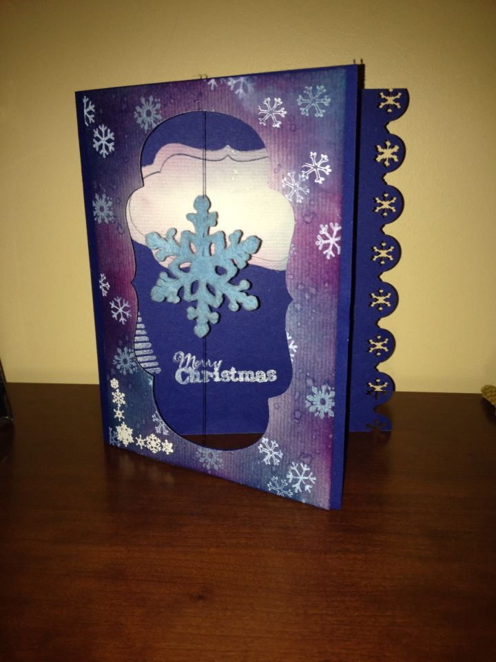 Floating snow flake - the first Christmas card I made this year!