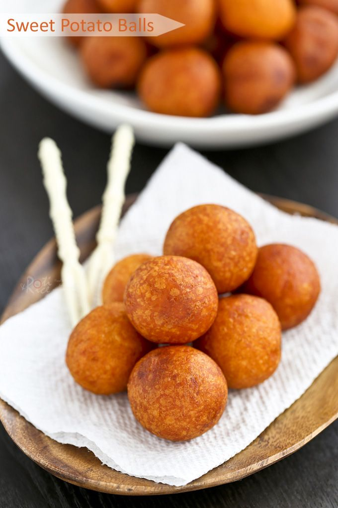 Only a few simple ingredients used in these gluten free Sweet Potato Balls deep fried to golden perfection. They make a tasty tea time or snack time treat. | Food to gladden the heart at RotiNRice.com
