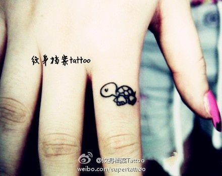 Turtle Tattoo Wrist Cute turtle tattoo on finger