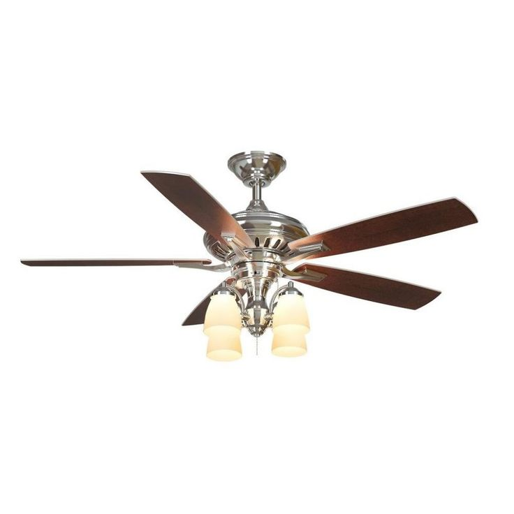 Polished Nickel Ceiling Fan With Light