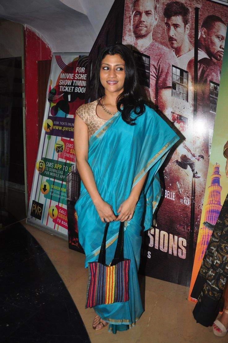 konkana sen sharm in silk saree. Love the detailing.. red piping