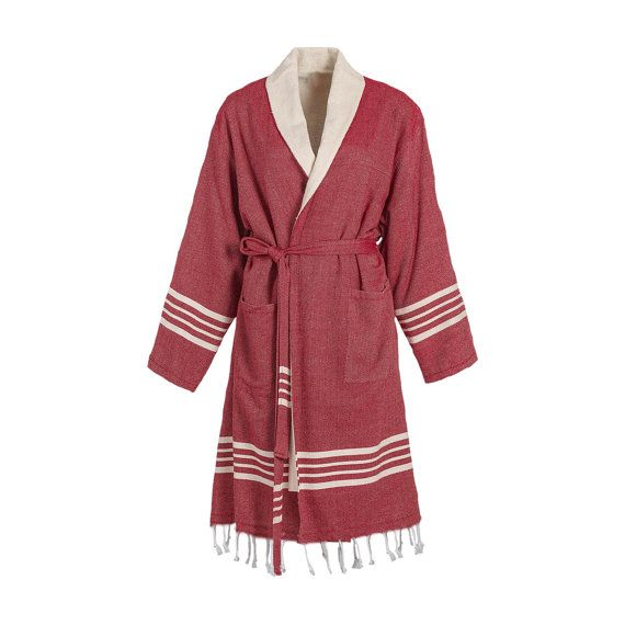 TOPRAK Turkish Towel Bathrobe is high-quality, 100% natural Turkish cotton with Raw Terry Layer inside and with Fringe.