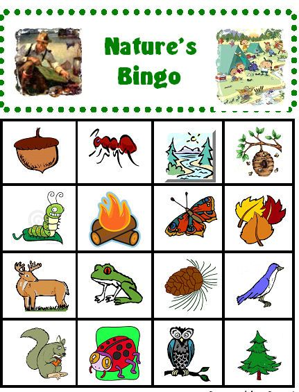 FUN - Days 1-5 - Nature's Bingo - great for toddlers because there are pictures instead of just words - 4x4 board for those with short attention spans ;)
