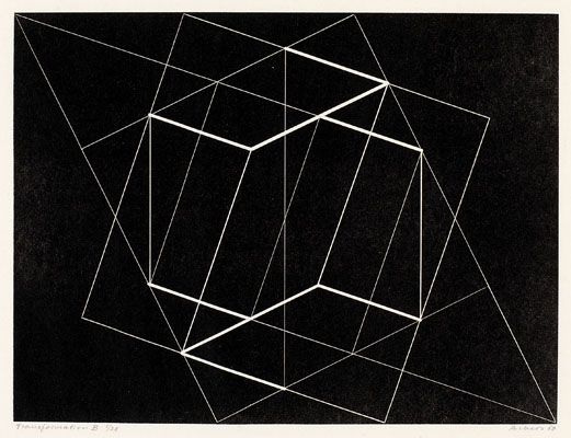 Josef Albers, Transformation B, 1950 Engraving from machine-engraved brass plate. JAAF: 1976.4.126 30.48 x 39.37 cm (12 x 15.5 inches) ©2007 The Josef and Anni Albers Foundation / Artists Rights Society (ARS), New York