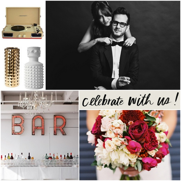 Dig the record player and the couple's look. #weddingS'More Bar, Rocks Par, Bit Rocks, Rock Roll, Colors Palettes, Records Players, Events Ideas, Rocks Rolls, Bar Signs