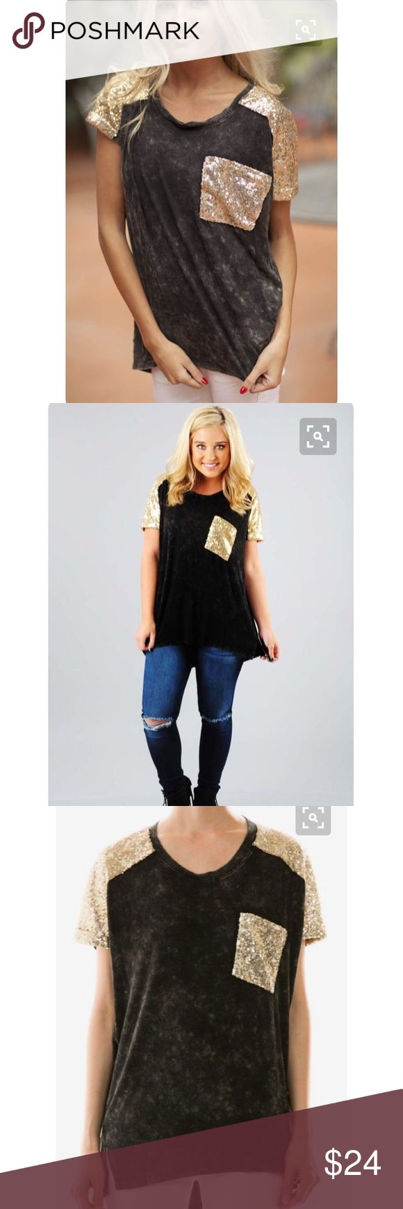 Gold Sequin Pocket Tee Gold Sequin Pocket Tee! Only worn a handful of times! Great condition. Fits true to size and is made to be a looser fitting top. Originally purchased online from Shop Hope's. Tops Tees - Short Sleeve