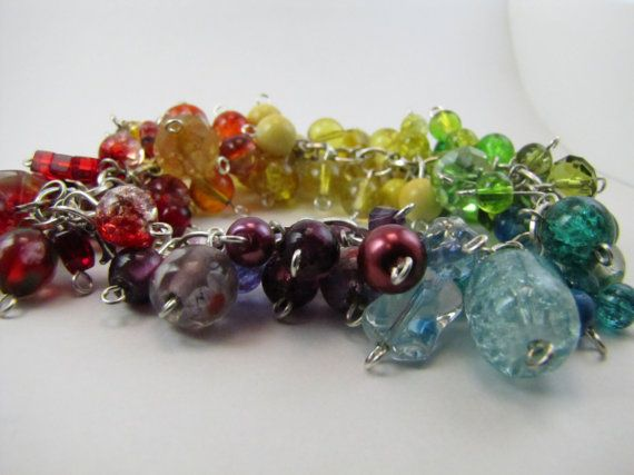 Rainbow Beadburst Bracelet by BranchingHope on Etsy