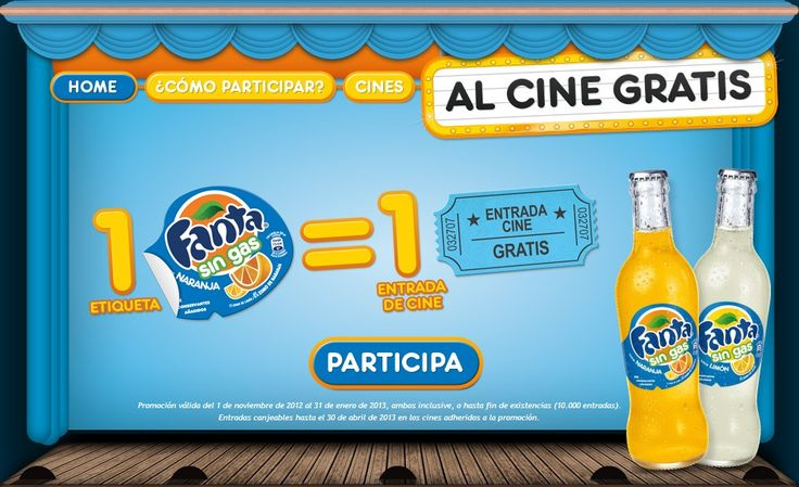 Fanta te invita al cine con su gama de bebidas refrescantes Fanta sin gas. Consigue tu entrada gratis para el cine. Válido para España hasta el 31/01/2013 o Agotar Existencias (10.000 Entradas).